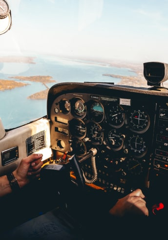 Aircraft cockpit with Air Data avionics and aviation power solutions